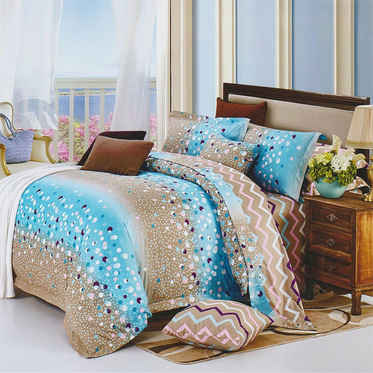 Sleep Buddy Set Sprei Blue Circle Cotton Sateen 160x200x30