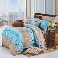 Sleep Buddy Set Sprei dan bed cover Blue Circle Cotton Sateen 180x200x30