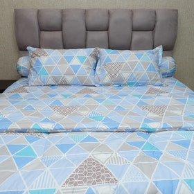 Sleep Buddy Set Sprei dan bed cover Blue Trilogy CVC 200x200x30