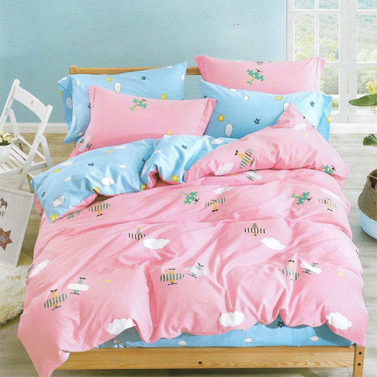 Sleep Buddy Set Sprei dan Bed Cover Airplane Cotton Sateen 120x200x30