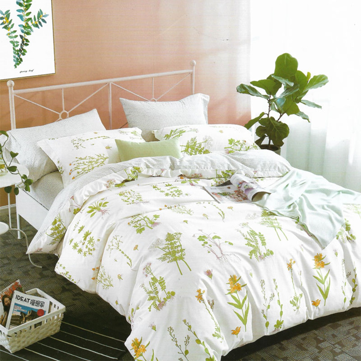 Sleep Buddy Set Sprei dan Bed Cover White Garden Cotton Sateen 160x200x30