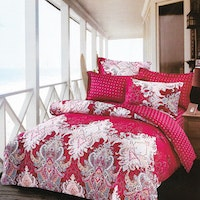 Sleep Buddy Set Sprei dan bed cover Classic Red Cotton Sateen 200x200x30