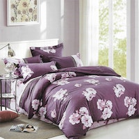 Sleep Buddy Set Sprei dan bed cover Purple Flower Cotton Sateen 160x200x30