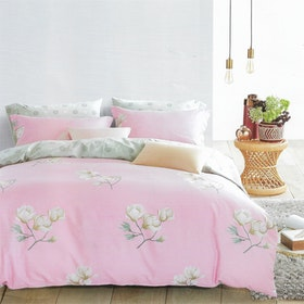 Sleep Buddy Set Sprei dan bed cover Bright Flower Cotton Sateen 200x200x30