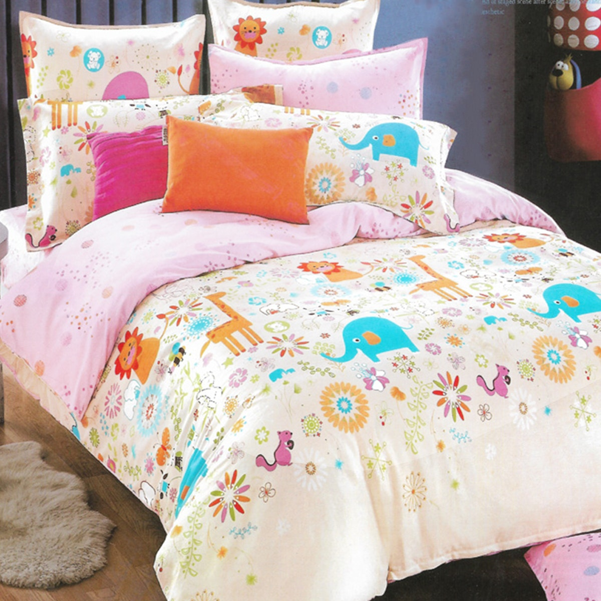 Sleep Buddy Set Sprei dan bed cover Animal Pigmen Katun 180x200x30