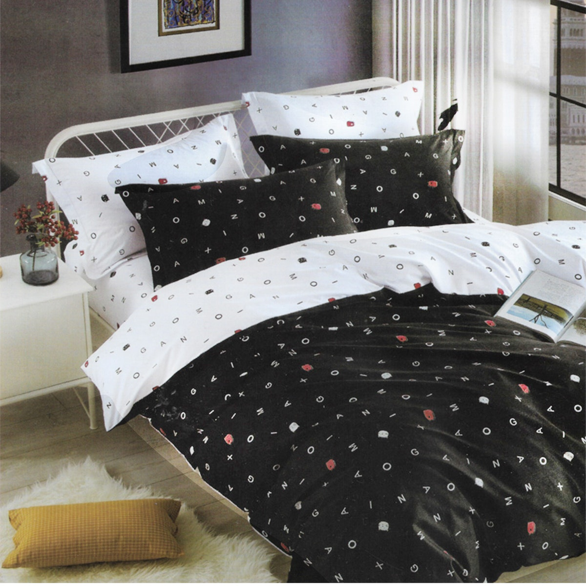 Sleep Buddy Set Sprei Mono Alphabet Pigmen Katun 160x200x30