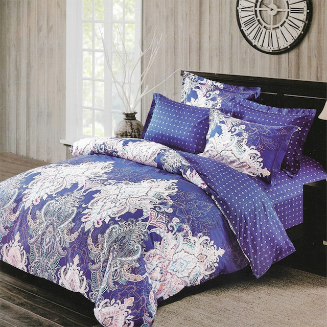 Sleep Buddy Set Sprei dan bed cover Classic Blue Cotton Sateen 180x200x30
