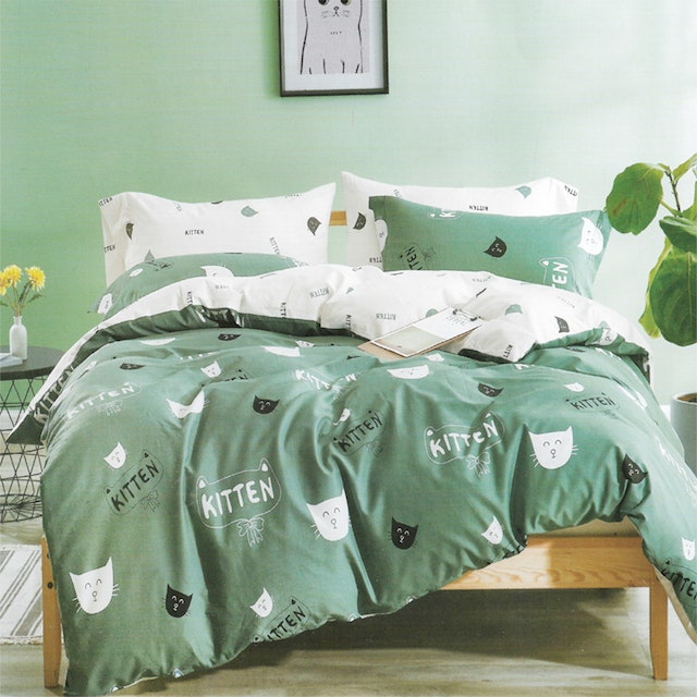 Sleep Buddy Set Sprei dan bed cover Kitty Cat Cotton Sateen 160x200x30