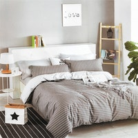 Sleep Buddy Set Sprei dan Bed Cover Line Grey Cotton Sateen 160x200x30