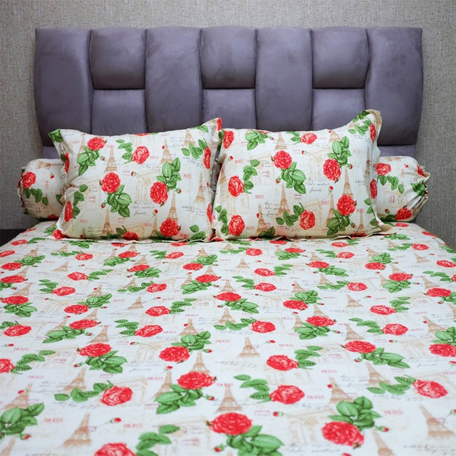 Sleep Buddy Set Sprei Amore Rose Red CVC 160x200x30