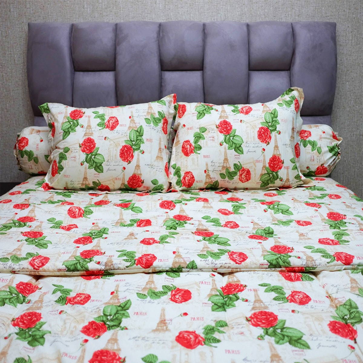 Sleep Buddy Set Sprei dan Bed Cover Amore Rose Red CVC 200x200x30