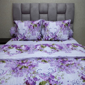 Sleep Buddy Set Sprei dan Bed Cover Florence Purple CVC 200x200x30