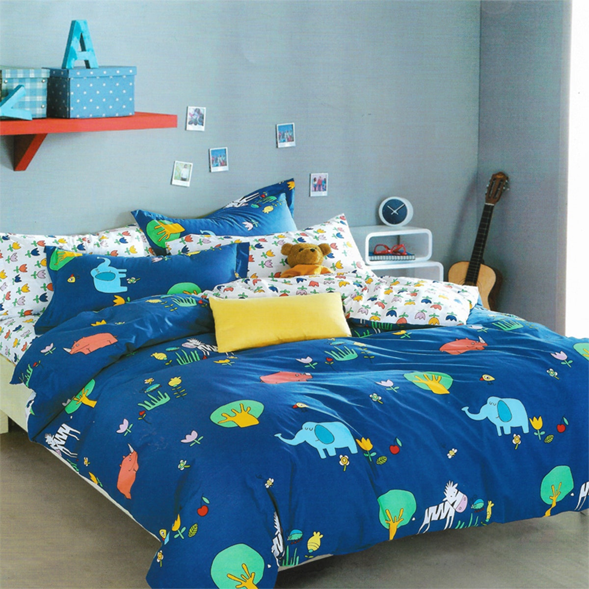 Sleep Buddy Set Sprei dan Bed Cover Baby Elephants Cotton Sateen 200x200x30