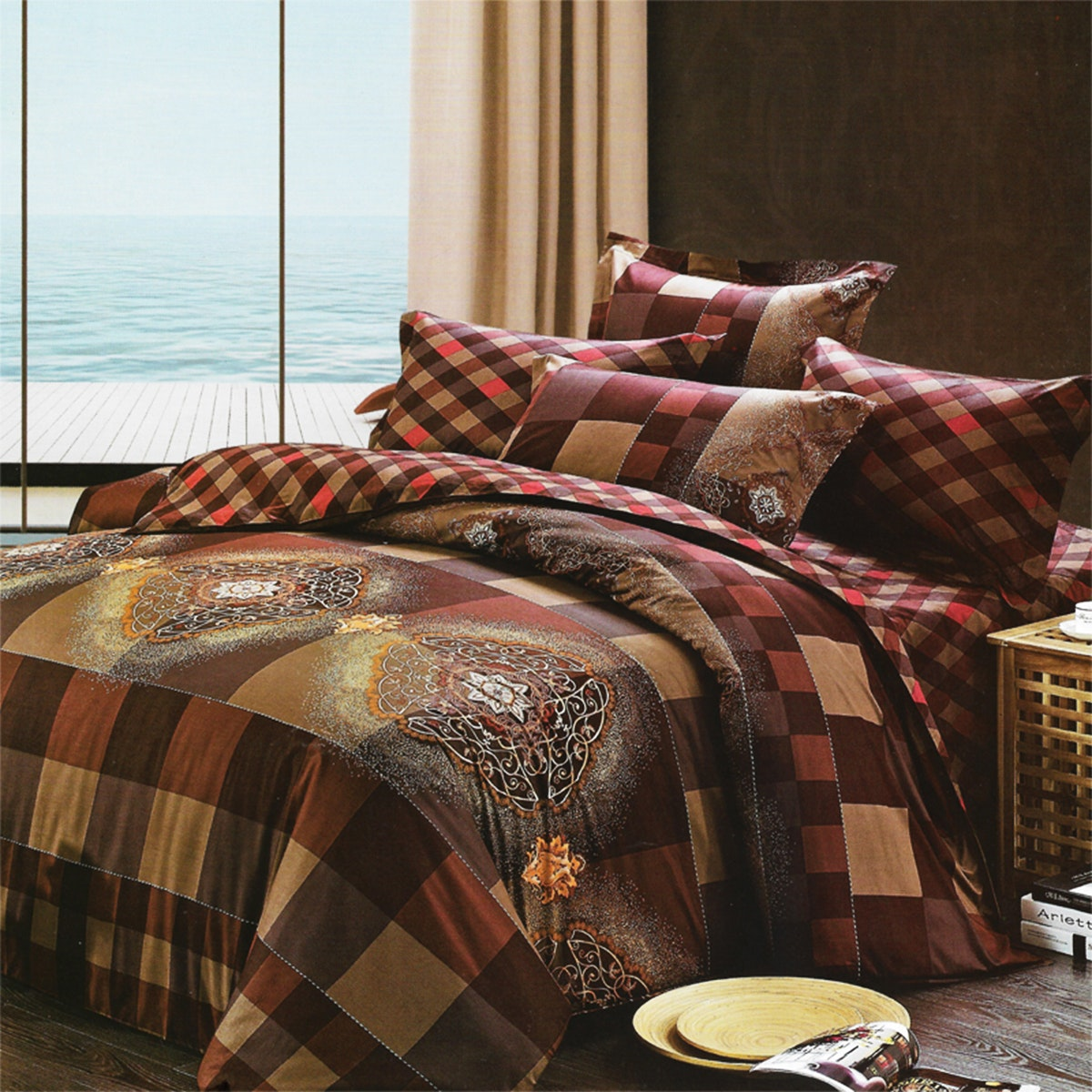 Sleep Buddy Set Sprei dan Bed Cover Cool Choco Cotton Sateen 180x200x30