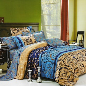 Sleep Buddy Set Sprei dan Bed Cover Line Classic Cotton Sateen 160x200x30