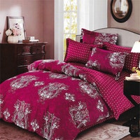 Sleep Buddy Set Sprei Red Carve Cotton Sateen 200x200x30