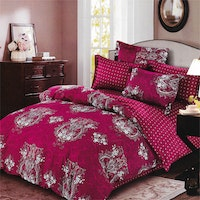 Sleep Buddy Set Sprei dan Bed Cover Red Carve Cotton Sateen 160x200x30
