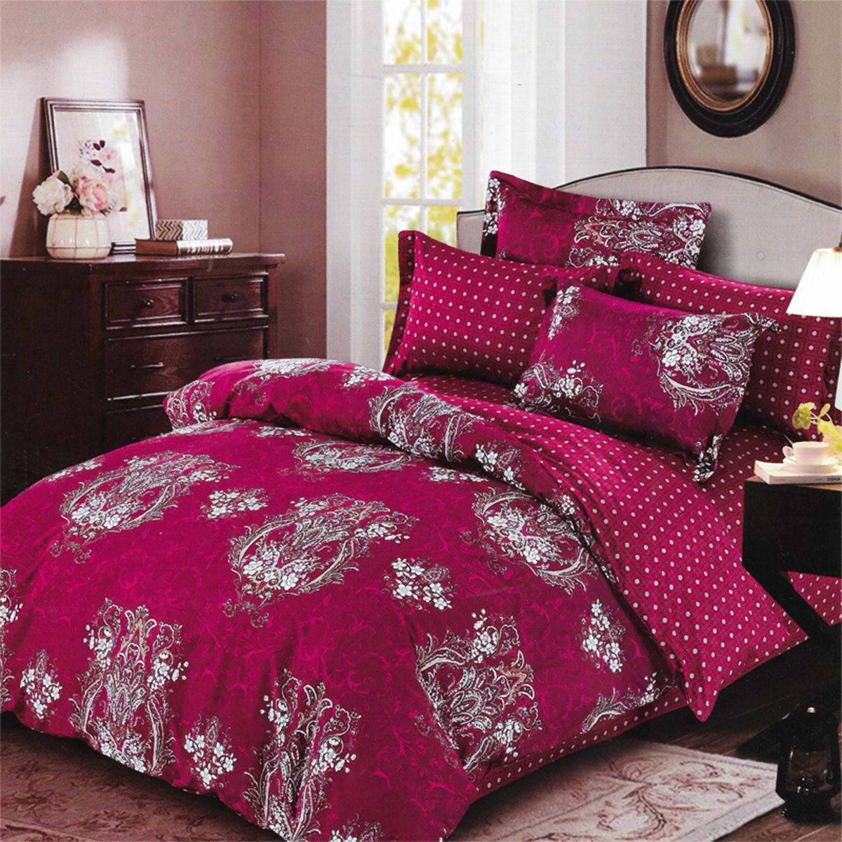 Sleep Buddy Set Sprei dan Bed Cover Red Carve Cotton Sateen 180x200x30