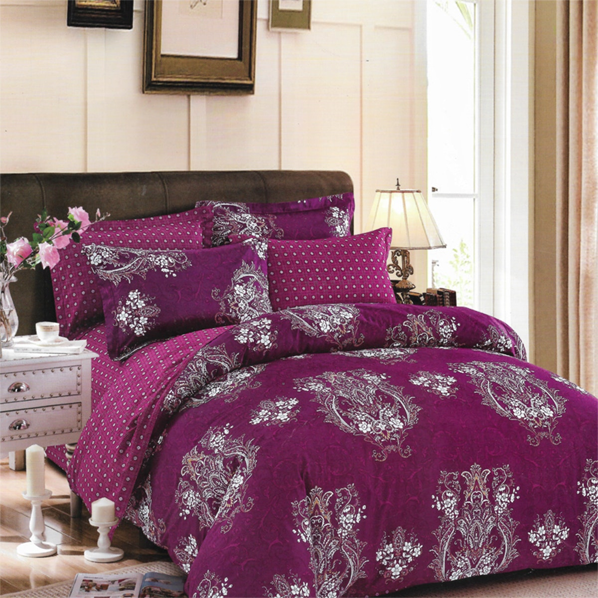 Sleep Buddy Set Sprei Dark Purple Carve Cotton Sateen 160x200x30