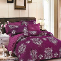 Sleep Buddy Set Sprei dan Bed Cover Dark Purple Carve Cotton Sateen 180x200x30
