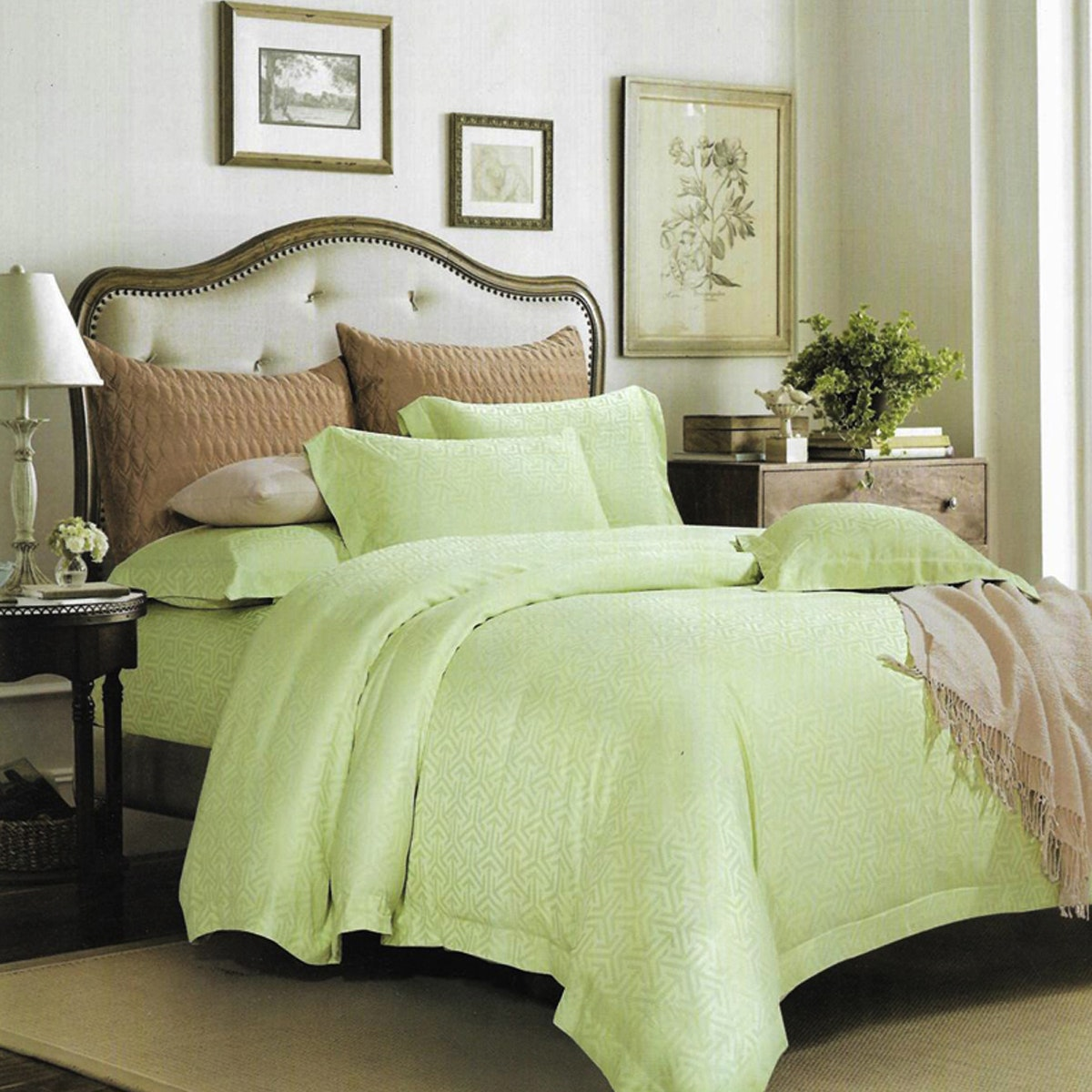 Sleep Buddy Set Sprei Fresh Light Green Sutra Tencel 160x200x40