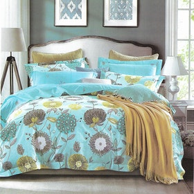 Sleep Buddy Set Sprei dan Bed Cover Blue Dandelion Cotton Sateen 180x200x30