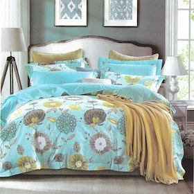 Sleep Buddy Set Sprei dan Bed Cover Blue Dandelion Cotton Sateen 200x200x30