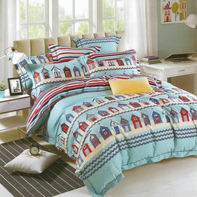 Sleep Buddy Set Sprei dan bed cover Home Sweet Home Cotton Sateen 180x200x30