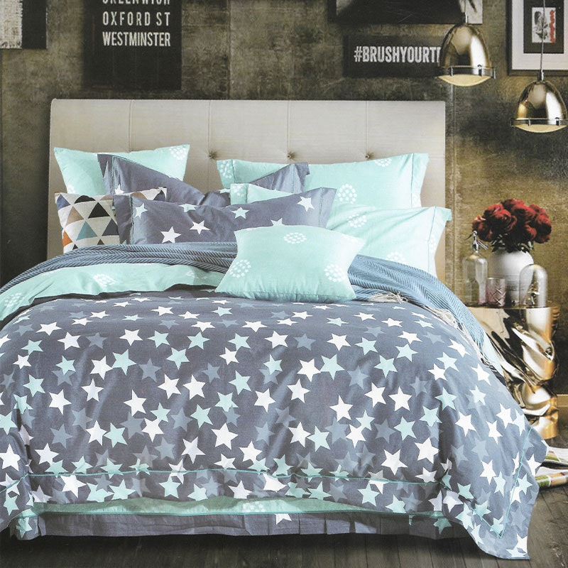 Sleep Buddy Set Sprei dan bed cover Staring at night Cotton Sateen 180x200x30