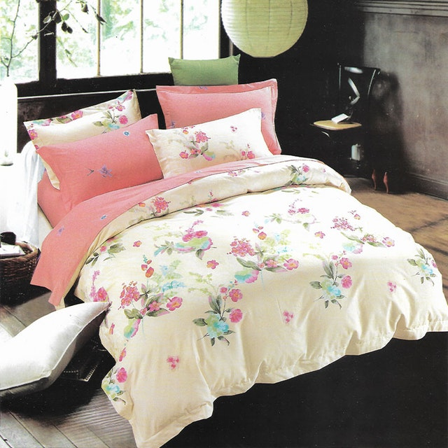 Sleep Buddy Set Sprei dan bed cover Ivory Flower Cotton Sateen 160x200x30