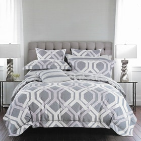 Sleep Buddy Set Sprei dan bed cover Spoiler Grey Cotton Sateen 180x200x30