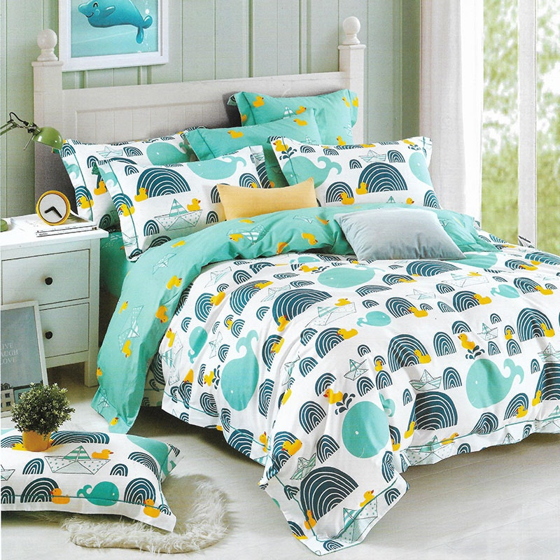 Sleep Buddy Set Sprei dan bed cover Funny Whale Cotton Sateen 160x200x30