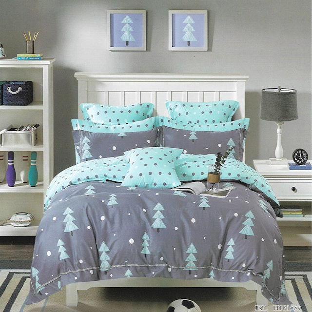 Sleep Buddy Set Sprei dan bed cover Pine Tree Cotton Sateen 200x200x30