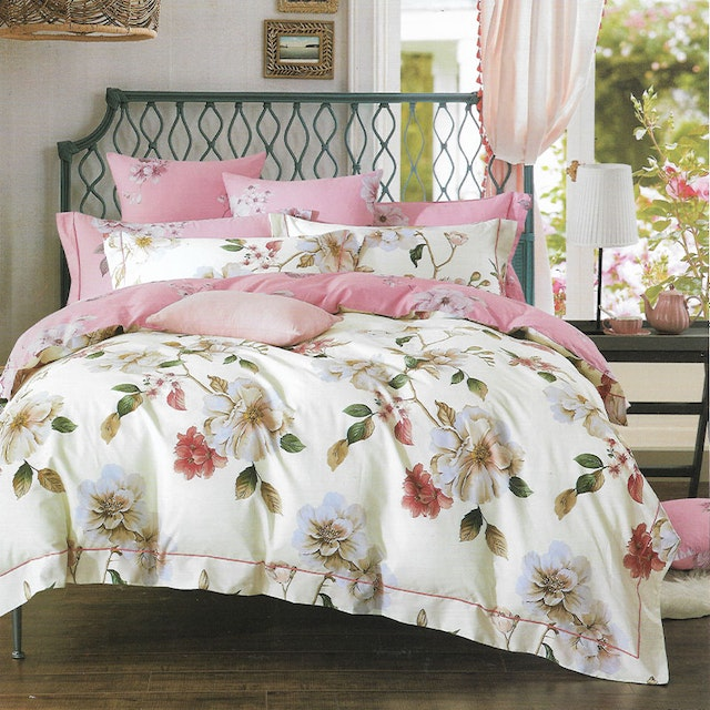 Sleep Buddy Set Sprei dan bed cover Big Ivory Flower Cotton Sateen 180x200x30