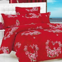 Sleep Buddy Set Sprei dan bed cover Red Flower Cotton Sateen 200x200x30
