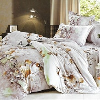 Sleep Buddy Set Sprei dan bed cover Grey Garden Cotton Sateen 200x200x30