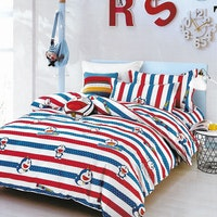 Sleep Buddy Set Sprei dan Bed Cover Dora Line Cotton Sateen 160x200x30