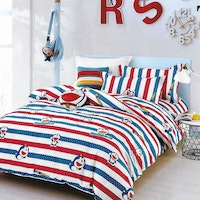 Sleep Buddy Set Sprei dan Bed Cover Dora Line Cotton Sateen 200x200x30