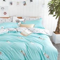 Sleep Buddy Set Sprei dan Bed Cover Feather Blue Cotton Sateen 200x200x30
