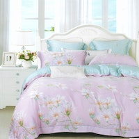 Sleep Buddy Set Sprei dan Bed Cover Spring Flower Pink Organic Cotton 120x200x30
