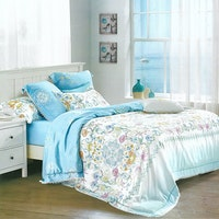 Sleep Buddy Set Sprei dan Bed Cover Blue Butter Organic Cotton 180x200x30