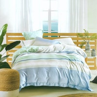 Sleep Buddy Set Sprei dan Bed Cover Summer Blue Organic Cotton 160x200x30