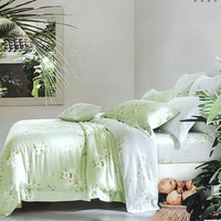 Sleep Buddy Set Sprei dan Bed Cover Soft Green Organic Cotton 120x200x30