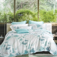 Sleep Buddy Set Sprei dan Bed Cover Blue Abstrak Organic Cotton 180x200x30