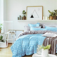 Sleep Buddy Set Sprei dan Bed Cover Basic Polka Blue Organic Cotton 120x200x30