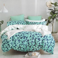 Sleep Buddy Set Sprei dan bed cover Leaf Silhoutte Cotton Sateen 180x200x30