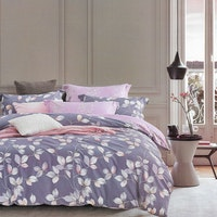 Sleep Buddy Set Sprei dan bed cover Grey Leaf Cotton Sateen 200x200x30