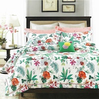 Sleep Buddy Set Sprei dan bed cover Colorfull leaf Cotton Sateen 160x200x30