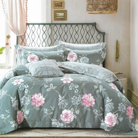 Sleep Buddy Set Sprei dan bed cover Lux Flower Cotton Sateen 160x200x30