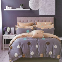 Sleep Buddy Set Sprei dan bed cover Polka Cotton Sateen 120x200x30